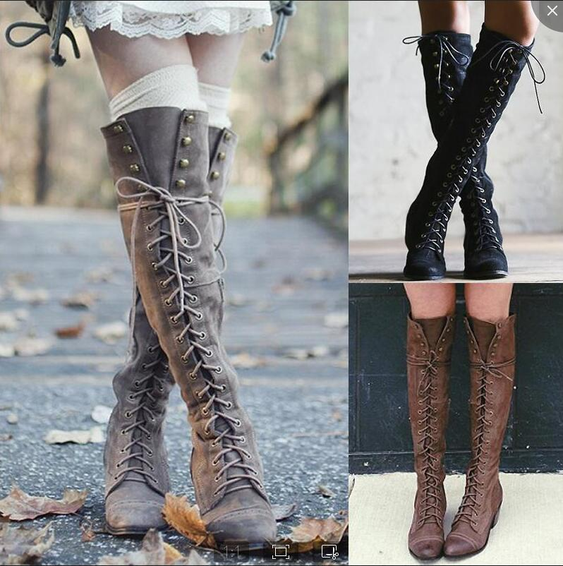 Women's Clothing, Shoes & Accessories Women Over Knee Low Heel Thigh Lace-Up Boots Long High Boots Fashion Cool Shoes Clothes, Shoes & Accessories buildersandthings.com.ng