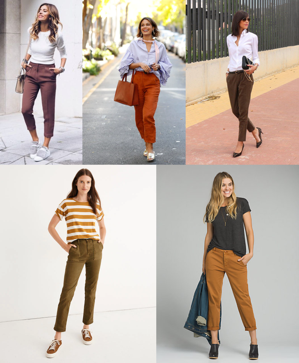 What color goes with dark brown pants? - Quora